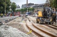 ФОТО: Ремонт трамвайных путей в центре Таллинна продлится еще месяц