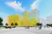 Vaade Rävala puiesteelt uuele Rävala Galeriile. Parempoolne tänav, mis eraldab tulevast keskust Tallinna Kauba-majast, on lähitulevikus suuresti jalakäijate ja jalgratturite päralt.
