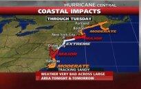 OTSE: Vaata USA idarannikut hirmu all hoidva orkaan Sandy teekonda!