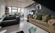 Modernne loft rabab puhta betooni ja julge värvivalikuga