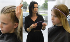 SOENGUNIPID: Ninja-tüdrukust juuksur Maarja Kivi näitab tütre peal vahvaid soenguid, millega kooliaktusele minna