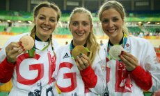 Briti medaliratturid (vasakult) Katy Marchant, Laura Trott ja Rebecca James