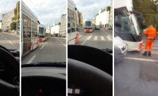 VIDEO: Pärnu maanteel põrkas tramm valepööret teinud kaubikuga kokku, trammid seisid