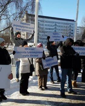 VIDEO | Rakvere streikijad korraldasid Soomes meeleavalduse