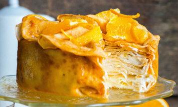 Провожаем Масленницу красиво: блинный торт с апельсинами