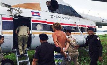 Tagaotsitav Eesti kodanik leitakse üles ka Kambodžast. Fotol tegeleb Kagu-Aasia riigi politsei Venemaa tagaotsitava, ärimees Sergei Polonski vahistamisega 2015. aastal.