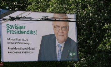 DELFI FOTOD: Savisaar alustas presidendikampaaniat suure plakatiga Tõnismäel, millel ilutseb ka kirjaviga