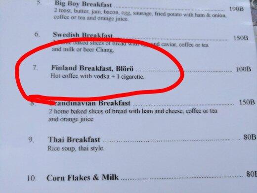 AJAKIRJANDUSPÄRL: Tai restoranis kirjeldatakse eriti humoorikalt Soome moodi hommikusööki