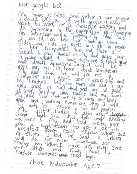LAHE: Suurte unistustega 7aastane tüdruk kirjutas Google'i bossile ilmeka kirja ja sai firma tegevjuhilt vastuse