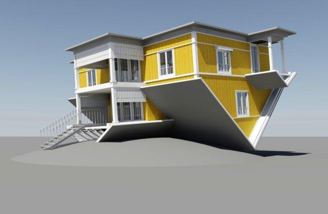 Just selline peaks välja nägema Tartusse Raadile kerkiv tagurpidi maja.