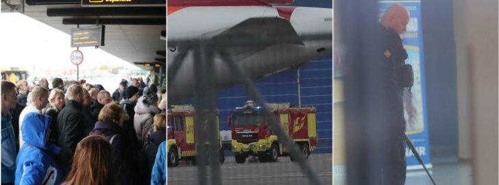 FOTOD SÜNDMUSKOHALT: Tallinna lennujaamale tehti pommiähvardus: toimus suur evakuatsioon ning reisijaid ei lastud lennukitest välja ega lennukitesse