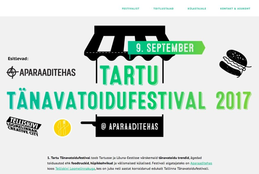 Laupäeval avab Aparaaditehas end esmakordselt Tartu Tänavtoidufestivaliks